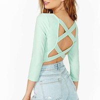 Double Cross Crop Top - Mint