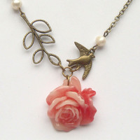 Antiqued Brass Leaf Bird Flower Pearl Necklace