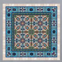 Tiles and stone mosaic wall art decor, Traditional Islamic art, ready to hang 20/20 inches