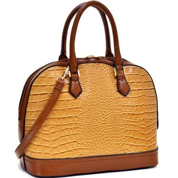 Dasein(R) Faux Croc Zip Around Satchel w/Removable Shoulder Strap