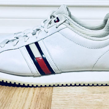 1990s Tommy Girl White Leather Runners, Vintage Athletic Shoes, Size 6M,