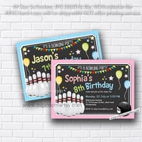 Bowling Birthday Invitations any age for kids birthday invitation chalkboard theme bowling invitation design fun party boy or girl card 426