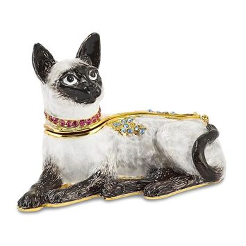 Bejeweled Crystal Siamese Cat Trinket Box