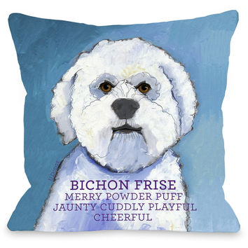 """Bichon Frise"" Indoor Throw Pillow by Ursula Dodge, 16""x16"""