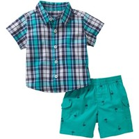 Healthtex Newborn Baby Boy Short Sleeve Button Down Shirt and Cargo Short 2-piece Outfit Set - Walmart.com