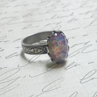 Harlequin Opal Ring--Silver Version Fire opal ring victorian style opal ring, vintage glass opal cabochon