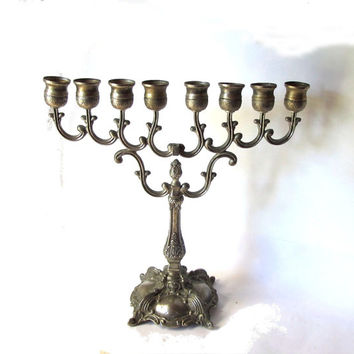 Tall ornate silver plated candelabra. Hanukkah menorah. Jewish holiday. Jewish gift. Floral design. Hanukkah gift. Hanukkah decor. Vintage.
