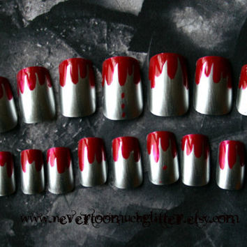 Gothic Nail Art- Texas Chainsaw Manicure (Medium) Press On Nails
