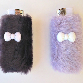 Pastel Kawaii BFF Furry Cute Lighter Case Holders Fairy Kei Set,  Faux Fur, Soft Grunge, Best Friends Gift, Bestfriends, Pale Grunge, Lolita