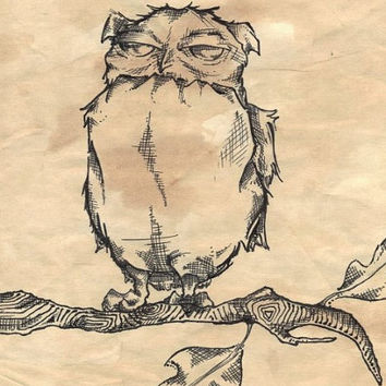Simple owl drawing by lifeasagift on Etsy