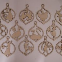 Christmas Ornament Laser Cut Wood Shapes, 12 PIECES, Ready to Paint Ornaments