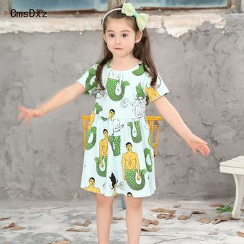 CmsDxz Girls Cotton Dress Animal Pattern 2017 Brand Summer Princess Dress Cartoon Children Costume For 1-7Yeaes Kids Dresses