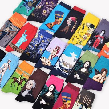 CRAZY FLY 2018 New Men's Fashion Art Renaissance Character Painting Cotton Socks Harajuku Mona Lisa Novelty Lady Funny Art Socks