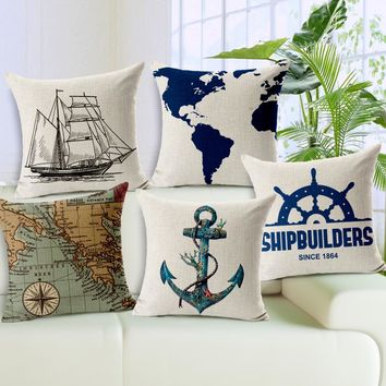 Navigation Map Sail Boat Anchor Home Decor Pillow Linen Cotton Cushion Rudder Decorative Throw Pillows