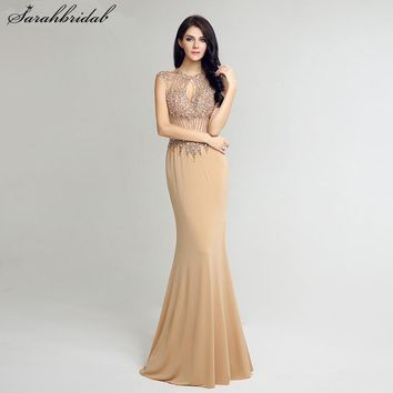 Sexy Hollow Open Back Long Mermaid Evening Dresses Luxury Crystal Beading Prom Party Gown vestido de noiva LSX233