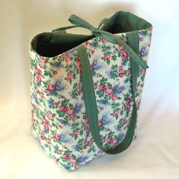Floral Tote Bag, Cloth Purse, Handmade Handbag, Fabric Bag, Roses, Lilacs, Flowers, Ivory, Pink, Purple, Green, Shoulder Bag