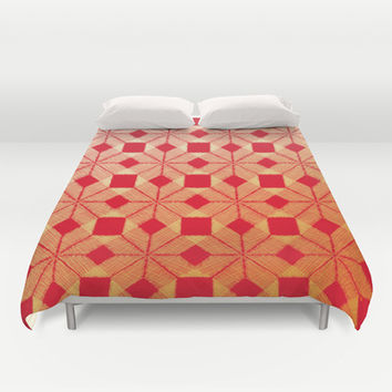 Fire Duvet Cover by Gréta Thórsdóttir  #scandinavian #snowflake #heat, #passion #red #gold #pattern #bedroom