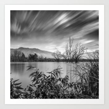 """""""Windy Clouds"""". At the lake. BW Art Print by Guido Montañés"""
