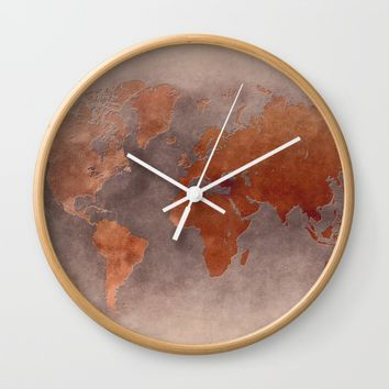 World map 7 brown Wall Clock by jbjart