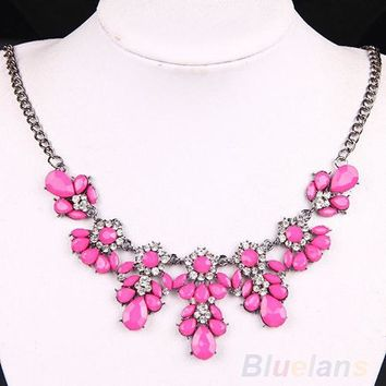 Women's Vintage Flower Crystal Bubble Bib Choker Statement Necklace 4 Colors necklaces & pendants 02AP