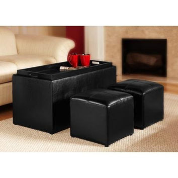 Faux Leather Storage Bench With 2 Side Ottomans