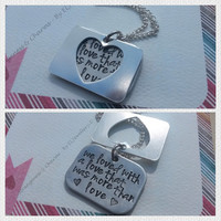Hand stamped 'We Loved with a Love' Necklace, Layered Necklace, Heart cut out, Aluminium,Stamped, Metal Jewellery, Jewlery, Quotes, Poe.