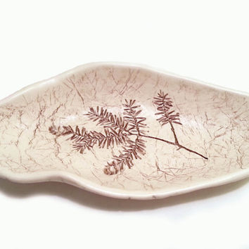 Vintage Ceramic Pottery Dish Hemlock by Maine Meadows 1976 pine woods forest conifer botany flora arbor natural sepia neutral decor tree