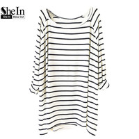 2014 New Summer Hot Oversized Top Women's Fashion Striped Tees Casual White Black Long Sleeve Loose T-Shirt