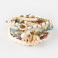 FULL TILT 5 Piece Elephant/Coin/Braid Bracelet Set | Bracelets