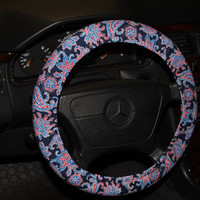 Paisley Steering wheel cover / Navy and Red Wheel Cover / Women's wheel cover / hostess gift idea/Birthday gift .