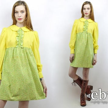 Vintage 60s Yellow + Green Paisley Babydoll Dress M Tuxedo Dress Dolly Dress Paisley Dress Peter Pan Collar Longsleeve Dress