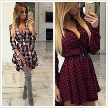 Plaid Irregular Waistband Dress One Piece Dress [4919457220]