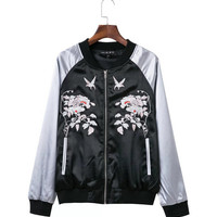 Harajuku Animal Bird Flower Embroidery Jacket Women Contrast color Sleeve Bomber Jacket Coat Pilots Couple Outerwear