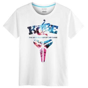 "Fashion Casual Unisex Lover Basketball Fan ""KOBE"" Letter Pattern Print Cotton T-shirt"