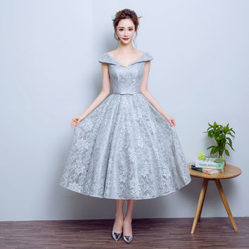 elegant tea length lace  prom dress 2017 v neck flare slim bridesmaid dress formal dress tailor made 10 colors