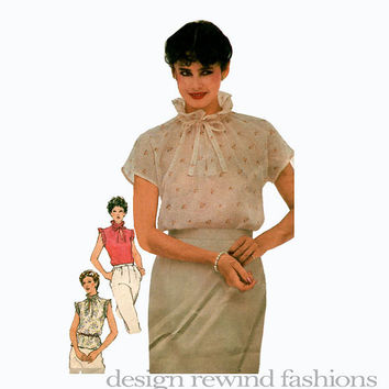 1980s Women's Short Sleeve Blouse High Stand-Up Ruffled Collar & Ruffle Edge Sleeves Simplicity 5106 Bust 36 UNCUT Vintage Sewing Patterns