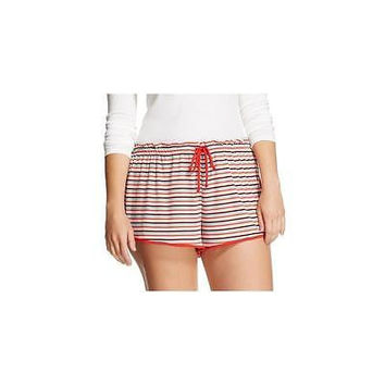 Xhilaration Women's Sleep Shorts, Large, Red/Teal Stripe