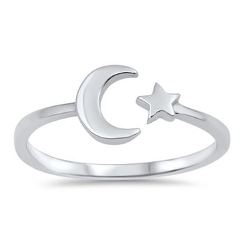 Sterling Silver Women's Ring Moon and Star Staccato 8MM