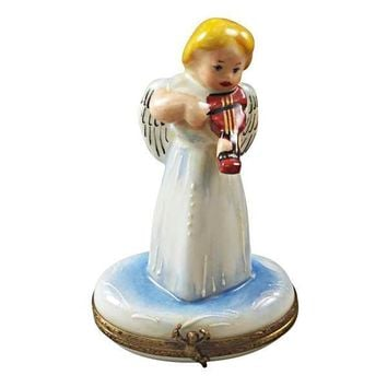ANGEL WITH INSTRUMENT LIMOGES BOXES