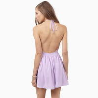 Halter Backless Lace Accent Shirtwaist Pleated Mini Dress