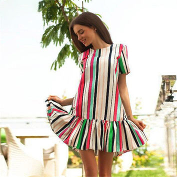 Print Summer Hot Sale Stripes Dress One Piece Dress [11735083343]
