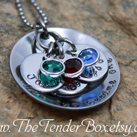 Free Shipping Personalized Mothers Necklace hand stamped necklace Mothers Day Perfect Gift with Swarovski birthstones