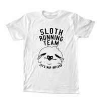 sloth running team T-shirt unisex adults