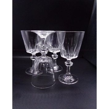 Crystal Wine Glasses With Faceted Ball Stem