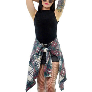 vintage 90s plaid shirt soft grunge button up slouchy oversized ribbed shirt top white Seattle grunge flannel medium