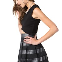 Metallic Stripe Elastic Flare Skirt