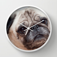 Cute Pug Wall Clock by Karl Wilson Photography
