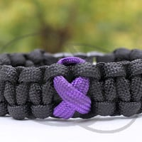 Suicide Prevention Lupus Cystic Fibrosis Testicular Pancreatic Cancer Awareness Ribbon 550 Paracord Survival Strap Bracelet Anklet w Buckle