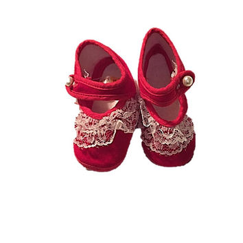 Vintage Red Baby Shoes, Gold Bug Baby Shoe, Mary Jane Baby Crib Shoes, Size Infant, Baby Gift, Baby Shower Gift