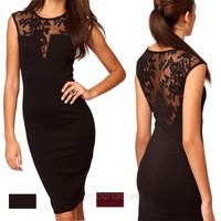 Formal Sexy Women Floral Lace Slim Bodycon Party Clubwear Evening Cocktail Dress = 1946652100